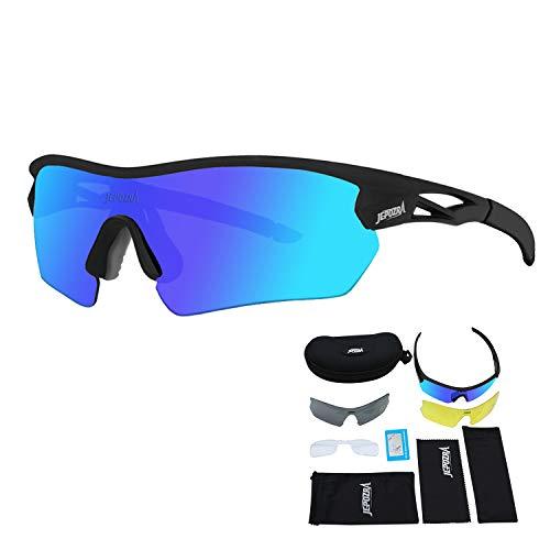 Toptotn Fahrradbrille Herren Damen Uv400-Schutz Rennrad Mtb Brille Wechselgläser Sportsonnenbrillen Für Polarisiert Outdooraktivitä Laufen Klettern Angeln Laufen Wandern (Schwarz/Blau)