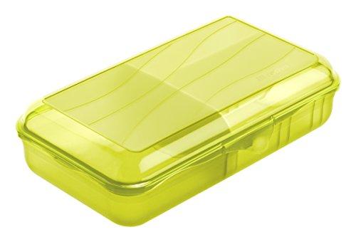 Rotho Fun Vesperdose mit 2 herausnehmbaren Trennwänden, Kunststoff (BPA -frei), lime grün , Gr. L / 1.7 Liter (24,5 x 14,5 x 6,5 cm)