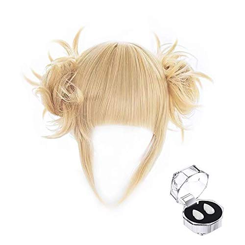 TLSD Himiko Toga Cosplay Wig Anime My Hero Academia Short Light Blonde Hair with 2 Detachable Buns and Vampire Teeth Fangs for Women Girls Halloween Costume Party