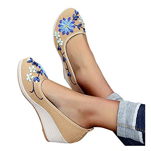 Sandalias Mujer Plataformas Verano CuñA CáñAmo Fondo Grueso Sandalias Punta Abierta Correa De Tobillo Con Punta Romanas Hebilla Zapatilla Zapatos De Moda Con Estampado Floral