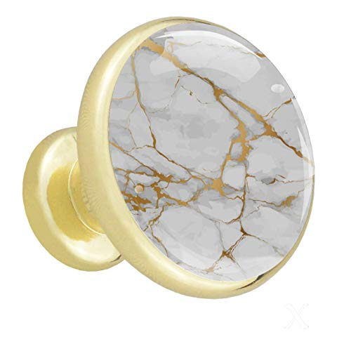 Yuzheng Struttura in Marmo Dorato Pomelli in Cristallo Oro 4 Pezzi Pomelli Rotondi da Cucina in Metallo Maniglia per cassetti per mobili Maniglie per Porte Dorate per Guardaroba 32mm