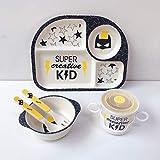 Bambusfaser-Kinder-Geschirr-Set, Batman Hero, 5-teiliges Geschirr-Set, Kinder-Küche, Bio-Batman-Bambusfaser-Geschirr-Set, Kinder-Besteck, umweltfreundlich, Spielzeug für Kinder