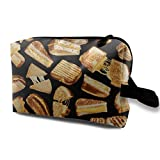 Grilled Cheese Sandwiches Galore Small Cosmetic Bags Travel Makeup Bag Fashionable Organizer For Women Girls