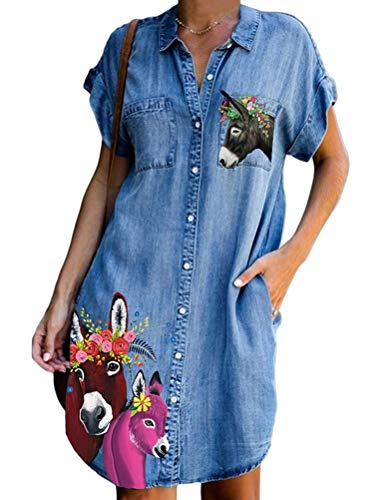 Onsoyours Jeanskleider Damen Sommerkleid Jeans Kleider V-Ausschnitt Strandkleider Einfarbig A-Linie Kleid Blusenkleid Hemdkleid Knielang Kleid Denimkleid C Blau 2XL