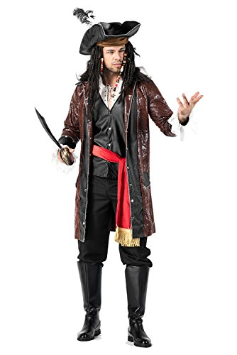lancoszp Disfraz de Pirata Capitan para Hombres Set Completo con Cuchillo Imitacion de Cuero