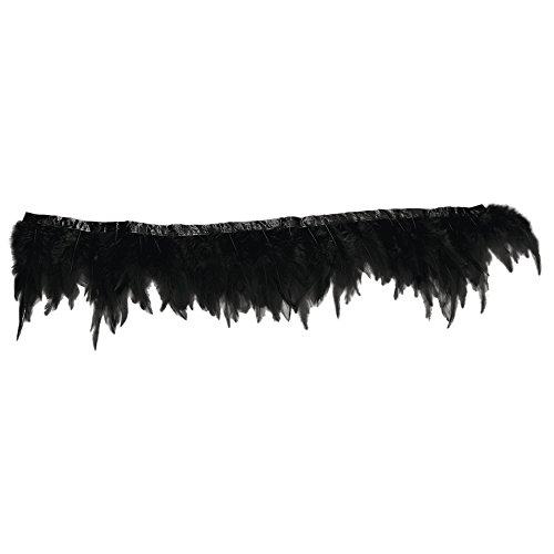 RAYHER 8508001 Federbordüre, schwarz, 50cm, Länge der Federn ca. 8-15cm, schwarz eingefärbte Perlhuhnfedern, Federborte