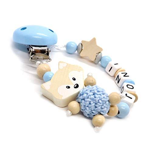 Individuelle Schnullerkette mit Namen für Mädchen und Jungs   VIELLE MODELLE   Schnullerhalter mit Wunschnamen (Fuchs, Natur, Stern, Babyblau)