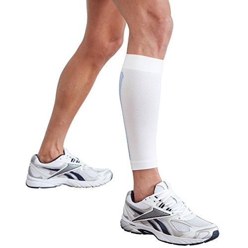 Actesso Órtesis Tubular de compresión para Pantorrilla Lesiones de la Pantorrilla y aliviar el Dolor Correr, Caminar o Hacer Deporte (Blanco, XL)