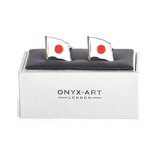 Onyx Art Cufflinks - Japan Flag - Japanese Flying Flag