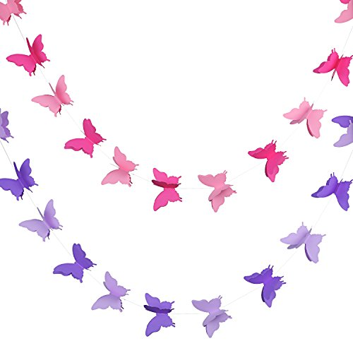 2 Pieces 3D Paper Butterfly Banner Hanging Decorative Garland for Wedding, Baby Shower, Birthday and Theme Decor, 118 Inches Long, Pink and Purple