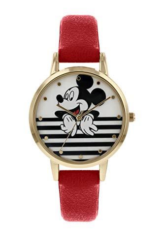 Mickey Mouse Damen Analog Quarz Uhr mit Leder Armband MK5090