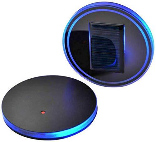 Sunwan - Set di 2 sottobicchieri a LED blu, a energia solare, impermeabili, per bottiglie e bevande, per auto