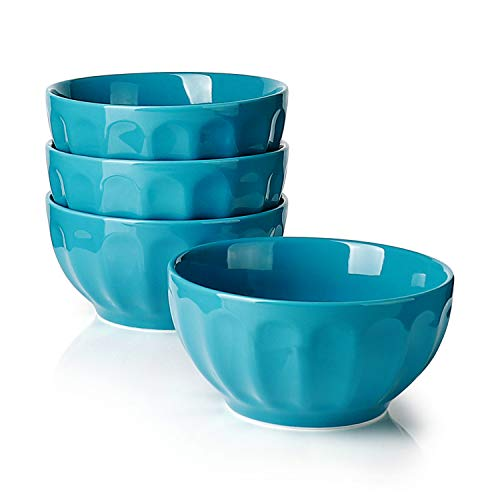 Sweese 106.407 Porcelain Fluted Bowls - 26 Ounce for Cereal, Soup and Fruit - Set of 4, Steel Blue