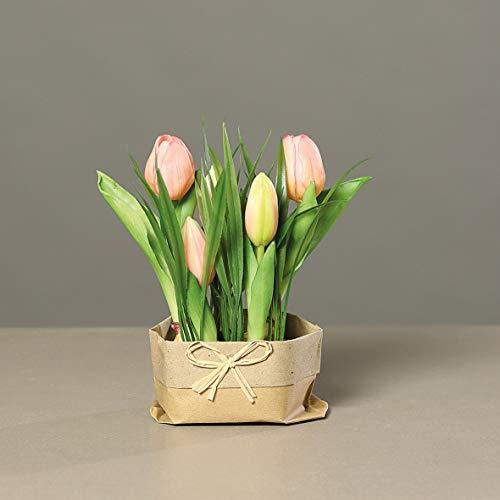 mucplants künstliches Tulpenarrangement mit Gras auf künstlichen Erdballen und Papiertüte ca. 20cm rosa Kunstblume Tulpe Kunstpflanze