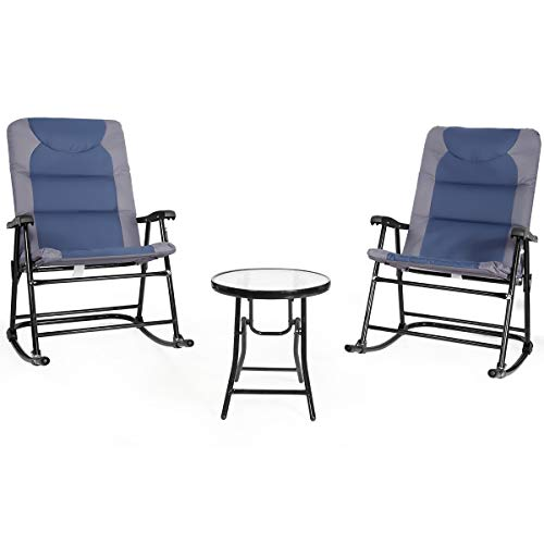 Giantex 3 PCS Folding Bistro Set Outdoor Patio Rocking Chairs Round Table Set 2 Rocking Chairs w/Glass Coffee Table for Yard, Patio, Deck, Backyard Padded Seat (Blue & Gray)