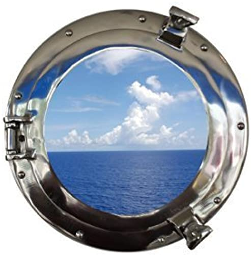 Deluxe Class Chrome Porthole Window 12  - Nautical Port Hole - Beach Theme by Handcrafted Model Ships