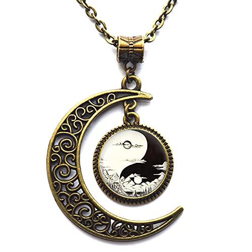 Collar de día y noche, sol y luna colgante con cadena, collar Yin Yang, hombres y mujeres accesorios-#85
