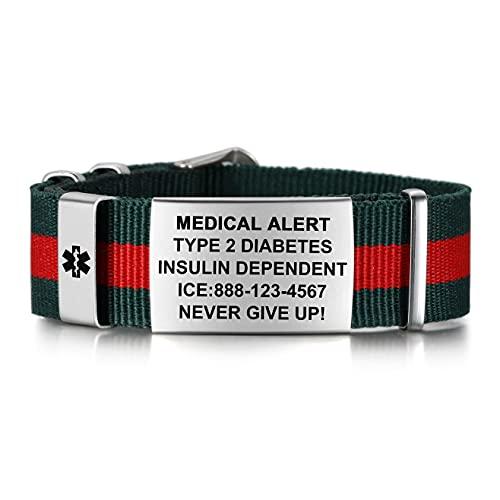 Medical Alert Bracelets for Women & Men | Emergency Medical ID Bracelets | Free Engraving Sport Medical Bracelet with Nylon Wristband | Adjustable Medical Bracelets 6.5-8.5 Inches