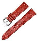 Beapet Correas de Reloj de Cuero Correas de Cuero Head Slub Slub Strub Correa Reloj Accesorios de reemplazo de liberación rápida Strapsimple Reloj Transpirable (Color : Red, Size : 23mm)