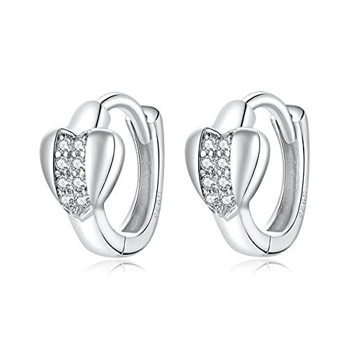 925 plata esterlina plateado platino brillante corazón oído hebilla para las mujeres joyería fina 2021 nuevos pendientes CZ