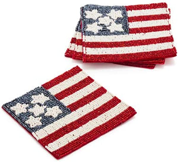Sur La Table Beaded American Flag Coasters Set Of 4