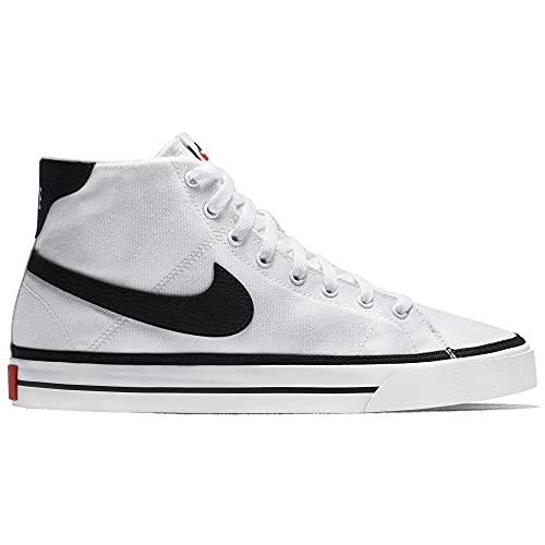 Nike Court Legacy Mid Canvas, Zapatos de Tenis Hombre, Blanco/Negro, 44.5 EU