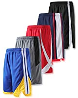 Liberty Imports Pack of 5 Big Boys Youth Athletic Basketball Shorts Mesh Quick Dry Activewear with Pockets (Edition 3, Youth Large)