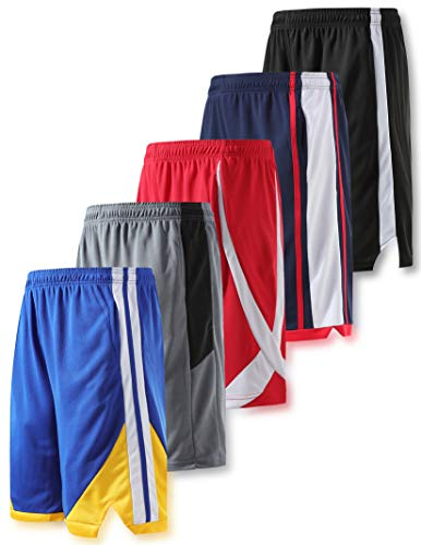 Liberty Imports Pack of 5 Men's Athletic Basketball Shorts Mesh Quick Dry Activewear with Pockets (Large, Edition 3)