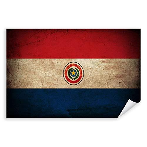Postereck - 0365 - Vintage Flagge, Fahne Paraguay Asunción - Unterricht Klassenzimmer Schule Wandposter Fotoposter Bilder Wandbild Wandbilder - Leinwand - 100,0 cm x 75,0 cm