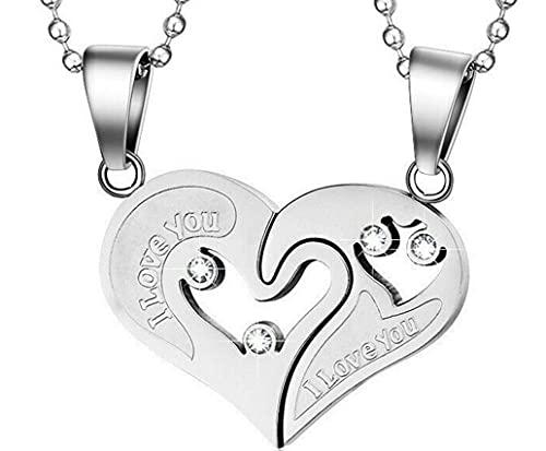 LUIDILUC Collares Corazón A Meta 2 Collares con I'Love You – Ti Amo