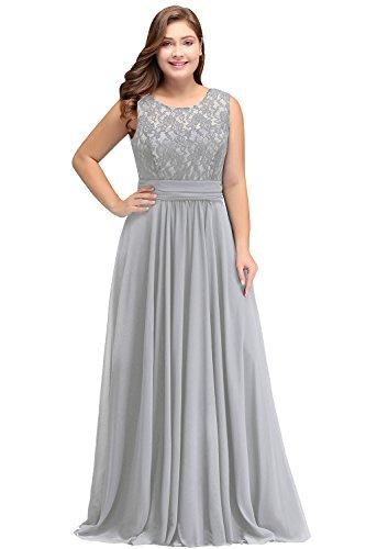 Misshow Damen Übergröße Abendkleid Spitze Chiffon Rückenfrei Elegant Lang Ballkleid Gr.32-52, Silber, 40