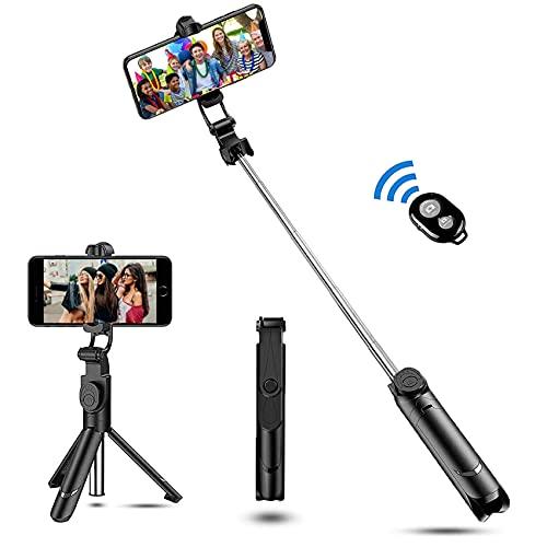 Zommuei Palo Selfie Trípode, Selfie Stick Bluetooth 3 en 1 Mini Tripode Movil con Obturador Bluetooth Rotación de 360° para iPhone 8/8 Plus / 7 / 6s /, Huawei P20 / P10, Galaxy S10 / S9 / 8/7 / 6. etc
