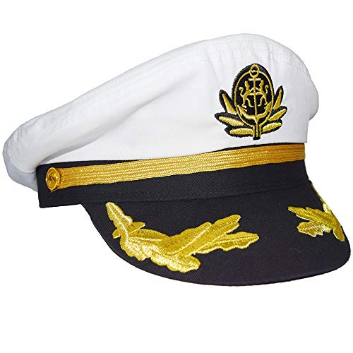 Men's Boat Admiral Captain Hat Snapback Embroidery Anchor Mariner Nautical Party Hats (White)