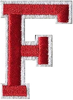 F-Red on White Monogram Letter Patch Appliqued Embroidery Iron/Sew On Badge DIY Decorate for Jackets,Hats,Pants,Shoes
