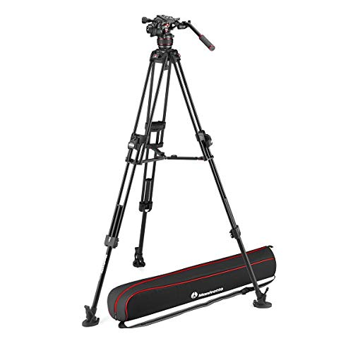 Manfrotto Nitrotech 608 Series Fluid Video Head with 645 Fast Twin Leg Aluminum Tripod & Mid-Level Spreader