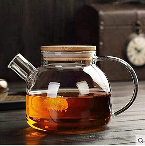 IJNBHU Tetera con colador Juego de té de Vidrio Resistente al Calor Tetera de Flores Tetera de Frutas Filtro de bambú Olla de Boca Corta Botella de Agua fría