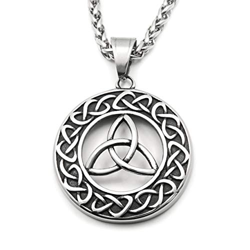 Gungneer Stainless Steel Triquetra Irish Celtic Knot Pendant Necklace Endless Love Eternity Protection Jewelry Amulet