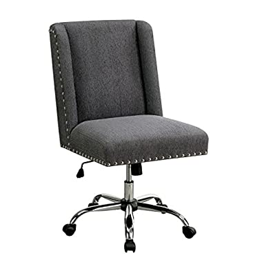 HOMES: Inside + Out IDF-FC642GY Bronzite Wingback Office Chair, Gray