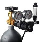 ZRDR CO2 Regulator Aquarium 12V DC CO2 Solenoid Pressure Adjustable with Big Dual Gauge Display, Bubble Counter, Check Valve, and Installing Tool, CGA320 Side Open Cylinder
