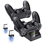 Opard PS4 Controller Ladestation, Ladestation Playstation mit 2 Micro USB Dongles 4 Dualshock , LED Anzeige geeignet für PS4 /PS4 Slim/PS4 Pro