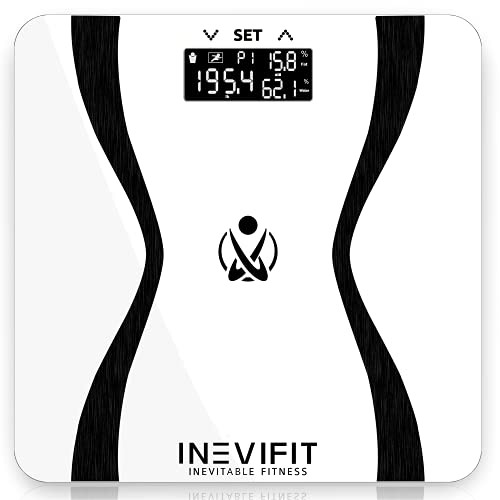 INEVIFIT Body-Analyzer Scale, Highly Accurate Digital Bathroom Body Composition Analyzer, Measures Weight, Body Fat, Water, Muscle & Bone Mass for 10 Users. Includes Batteries