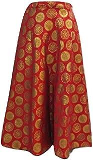 SNEH Women's Brocade Gold Print Skirt (Red,Free Size)