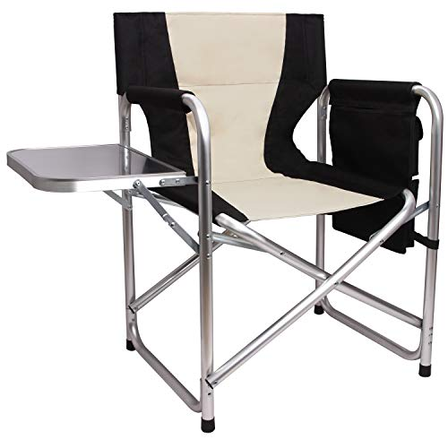Camping Directors Chair Portable Folding Chair - Full Aluminum Frame Makeup Chair Artist Heavy Duty Lightweight with Armrest Side Table Storage Bag Indoor Outdoor 300 lbs Supports
