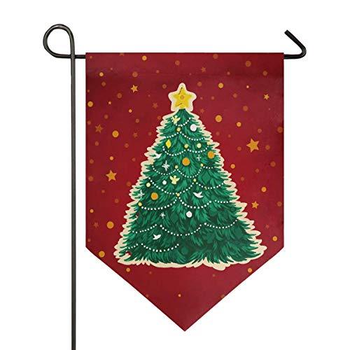 VLOOQ-HX Arbre de Noël Étoile Hiver Xmas Rouge Jardin Drapeau Double Face Maison Cour Décor Bannière en Plein Air 12,5 x 18 Pouces