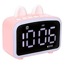 Kids Alarm Clock for Bedroom Cute Cat Alarm Clock Children's Sleep Trainer, Kids Digital Alarm Clock with FM Radio Bluetooth Speaker, 2 Dimmer Mode Nightlight Rechargeable Alarm Clock for Kids