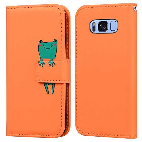 Ailisi Samsung Galaxy S8 Hülle, Karikatur Grün Frog Muster Leder Handyhülle Brieftasche Schutzhülle Leder Flip Hülle Wallet Cover Klapphüllen Tasche Etui mit Kartenfächern+Stand -Frosch, Orange