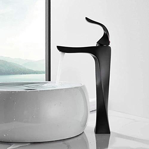 Grifo mezclador de bronce negro Montaje en cubierta Cascada Baño Vanidad Vaso Fregaderos Grifo mezclador Grifo de agua fría y caliente
