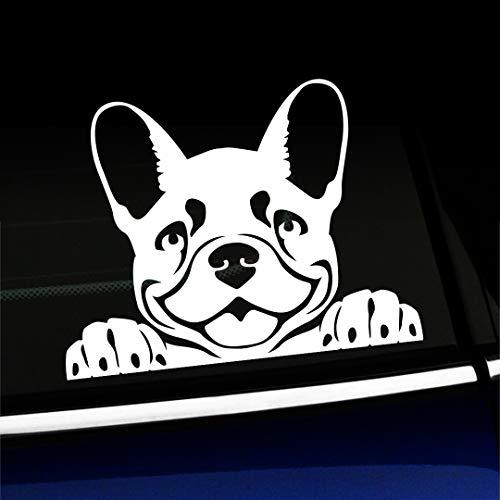 Artistic Reflection Peeking Frenchy - French Bulldog - Vinyl Car Decal - Choose Color - [White]