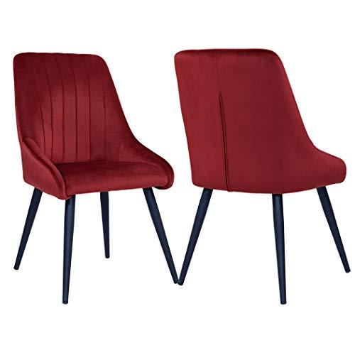 Duhome 2X Sedia da Sala da Pranzo in Tessuto (Velluto) Sedia Imbottita Design Retro con Piedini in Metallo Vintage Selezione Colore 8066, Farbe:Rot, Material:Velluto