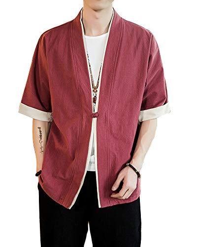 Shaoyao Hombres Cárdigan Chaqueta De Kimono Japonesa Chaqueta De Informal Chino Vino Rojo 3XL